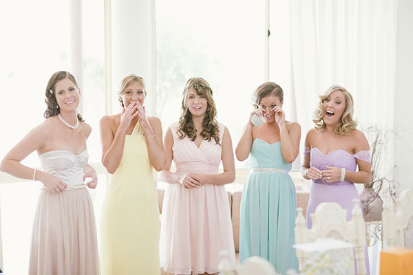 My bridesmaids all lived interstate or overseas and before the wedding didn't get a chance to see me in my dress. I also didn't get a chance to see them all dressed in their colours together. Here is the moment they saw me for the first time.