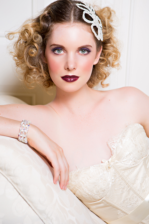 Bold vintage bridal hair and makeup