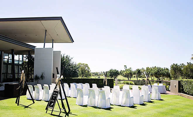 Wedding ceremony setup up Pacific Harbour Golf and Country Club