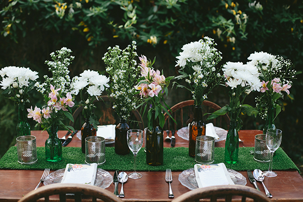 Rustic country wedding reception table