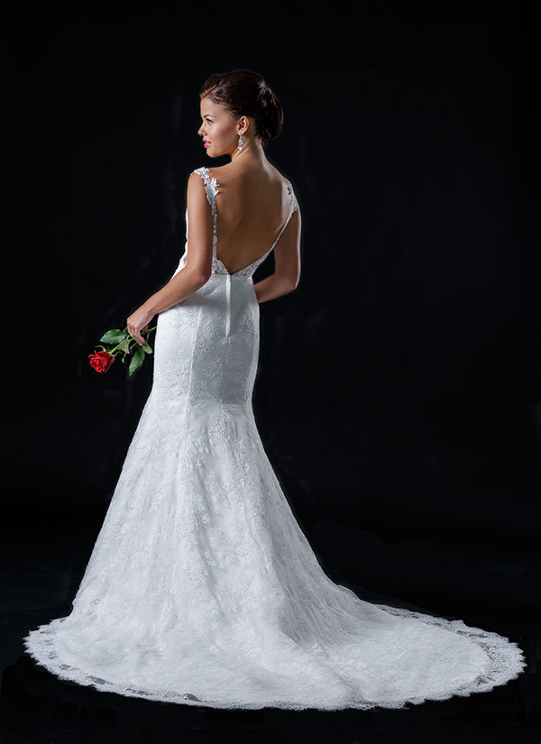Wedding gown with beautiful back detailing