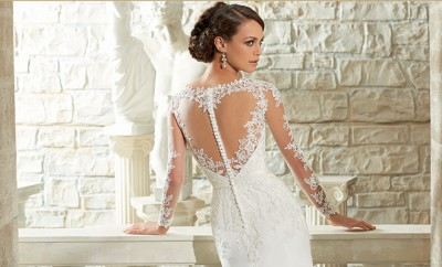 Gorgeous back detailing from a White Lily Couture wedding gown