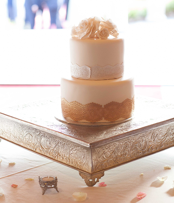 Wedding cake with gold detailing