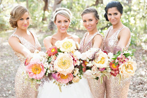 Bride and bridesmaid statement flowers. Milque Photography and Films