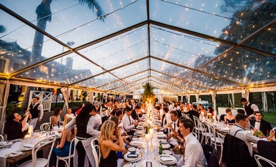 Look no further tha n a party under the stars for a perfect reception idea. Twinkling lights a nd hints of greenery add the finishing touches to really make sure your day is nothing but magical!