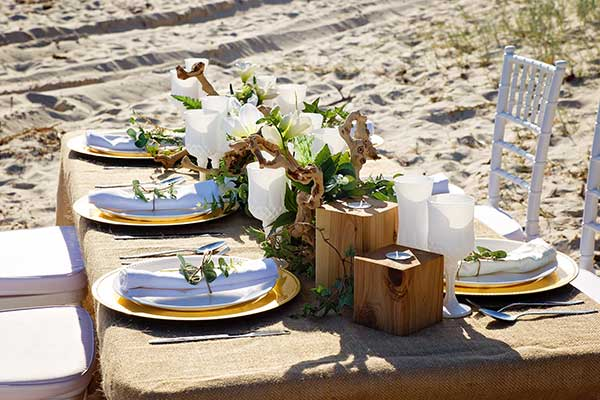 rustic centrepieces to create an earthy, picturesque boho wedding look