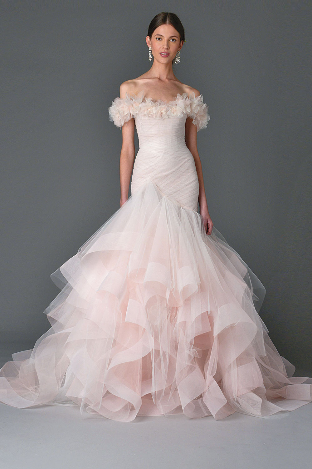 pale pink wedding dress by Marchesa