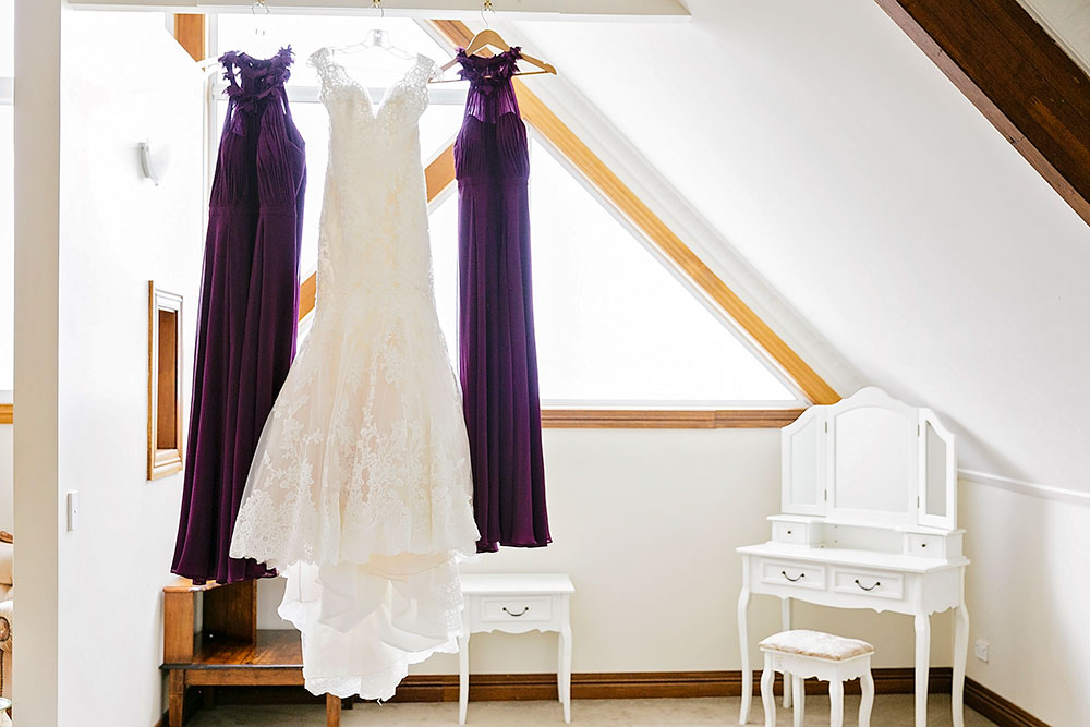 The bride's and bridesmaids' gowns