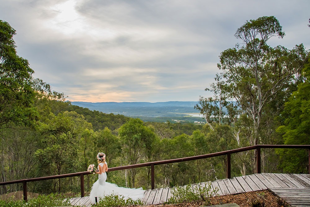 The bride and the gorgeous view