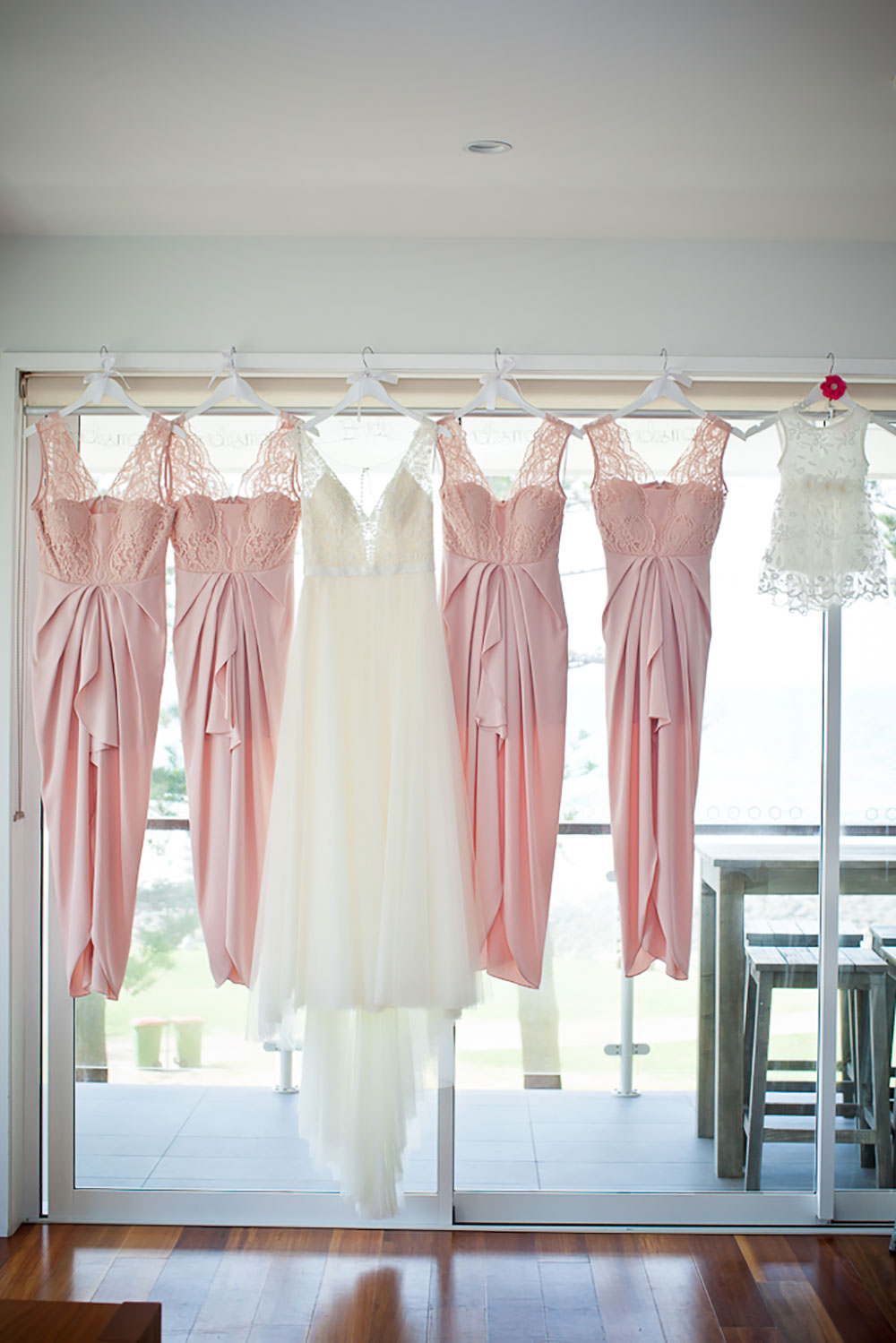 The dresses hanging up
