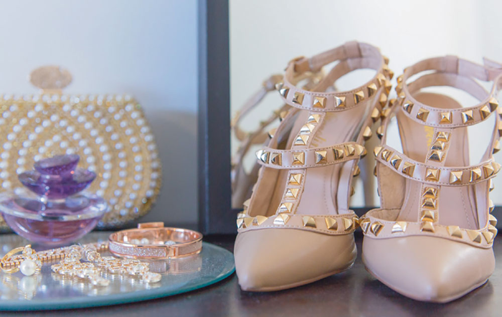 The bridal shoes and accessories