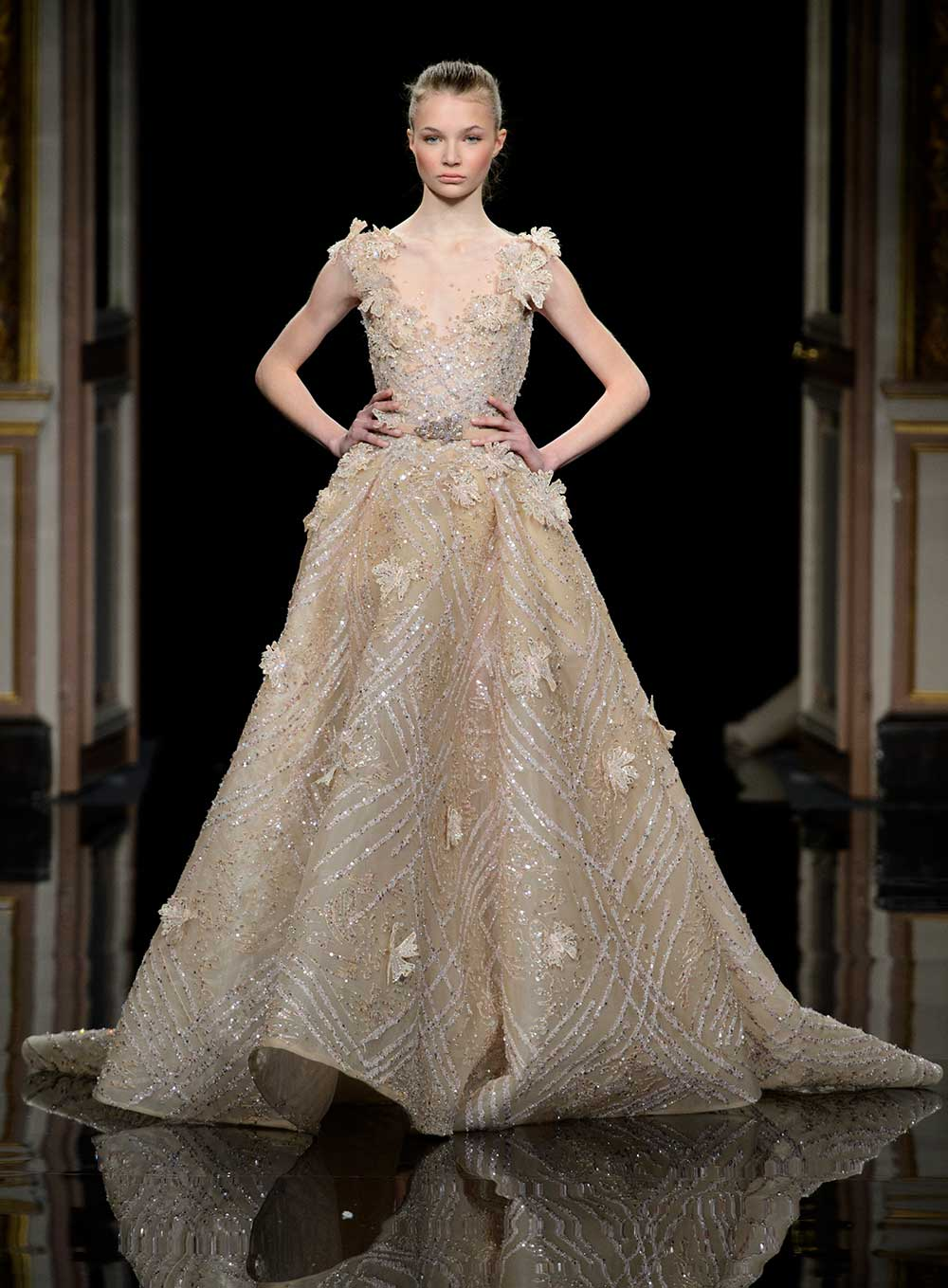 Zid Nakad gold haute couture wedding dress