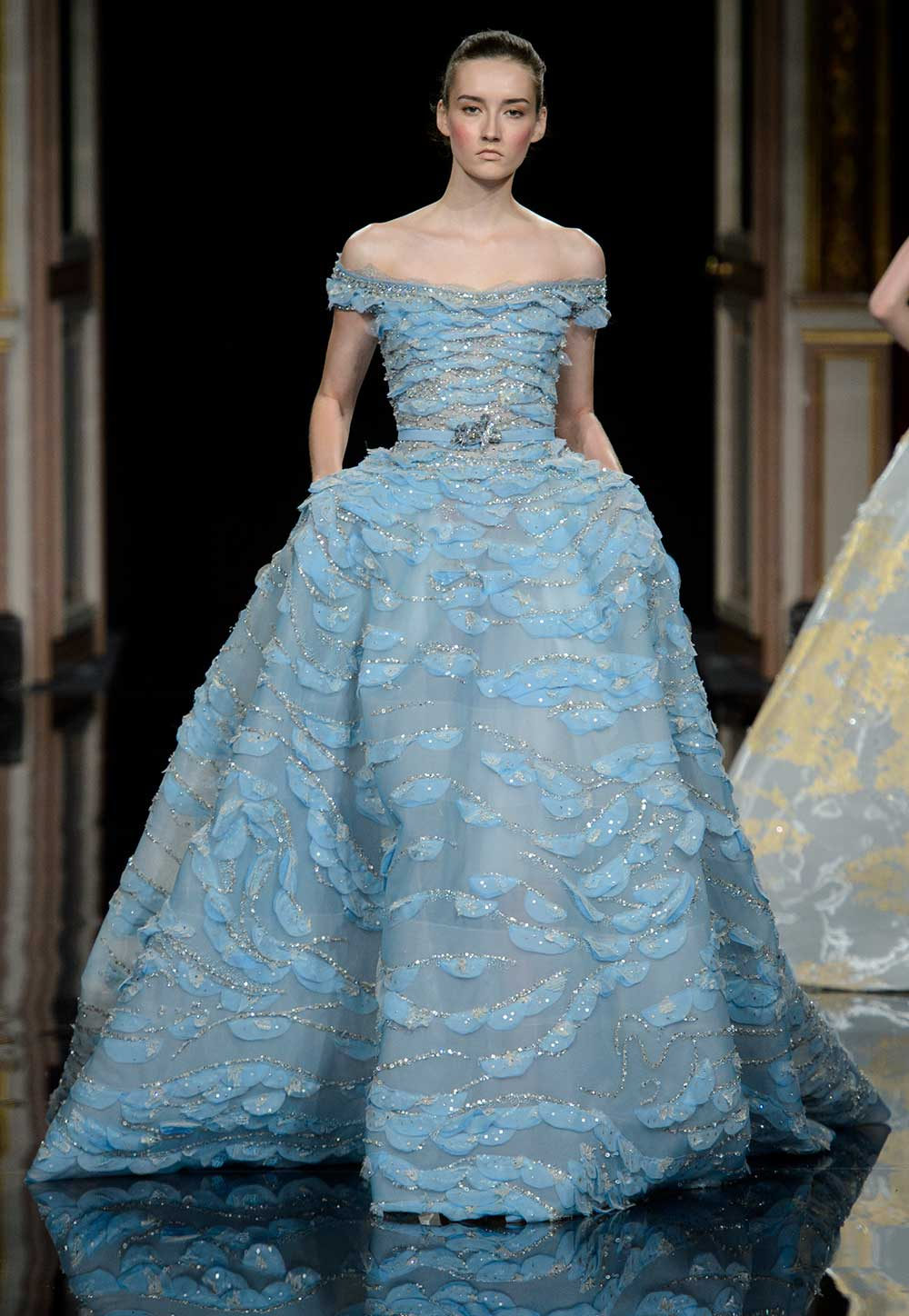 Ziad Nakad blue off-the-shoulder haute couture wedding dress