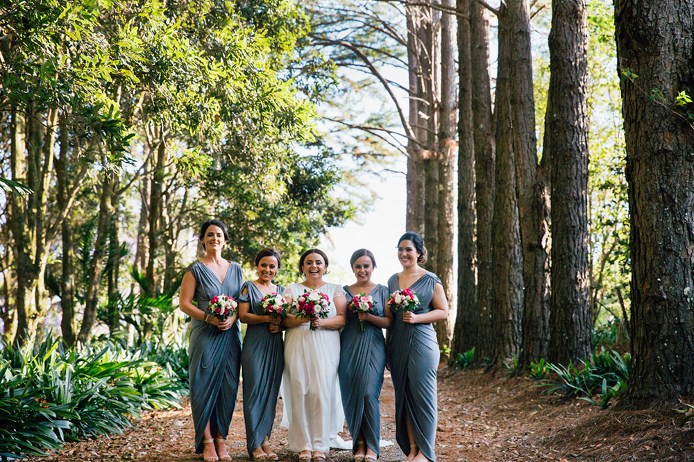Bride Michelle and her bridesmaids