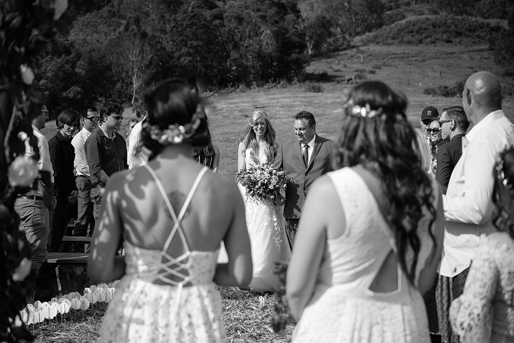 Alyce walking down the aisle