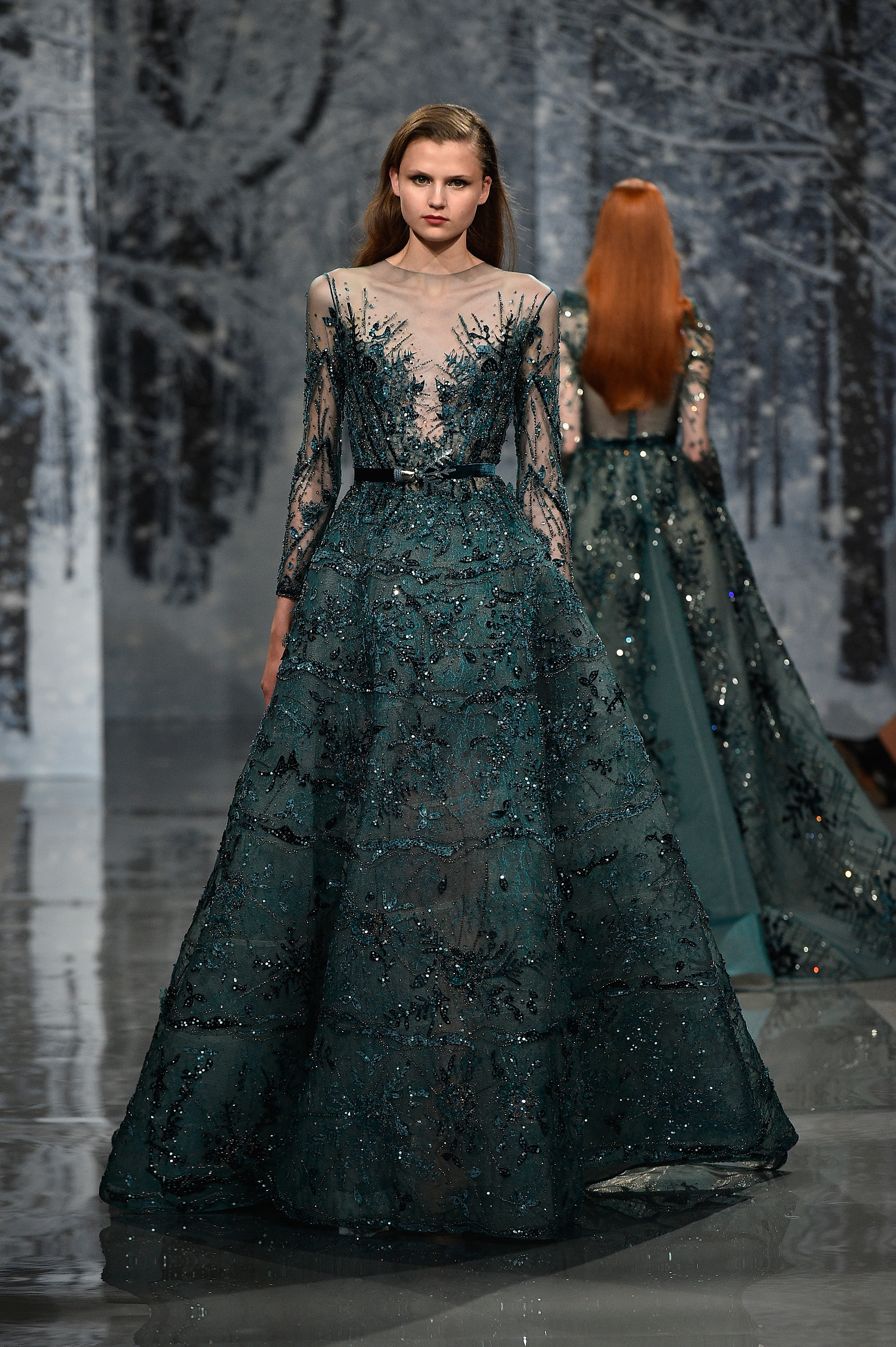 A model walks the runway during the Maison Ziad Nakad Haute Couture Fall/Winter 2017-2018 show as part of Haute Couture Paris Fashion Week on July 5, 2017 in Paris, France.