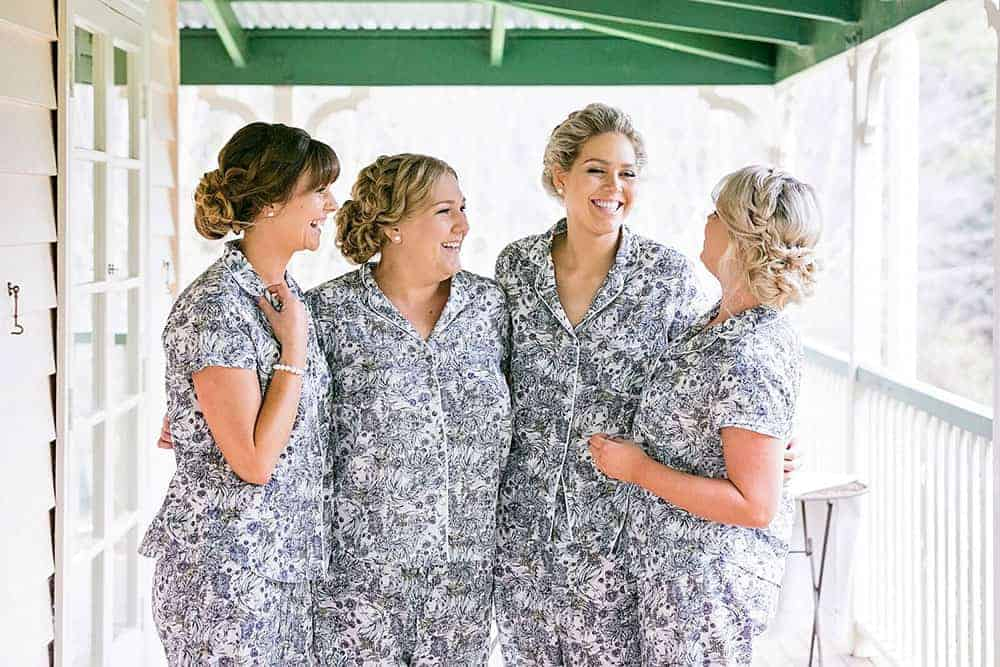 Having a laugh with her bridesmaids