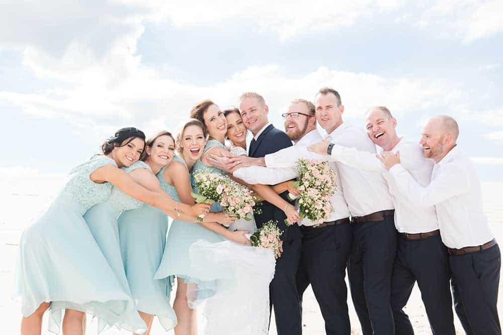 The excited wedding party