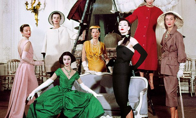 Christian Dior models in the salon of House of Dior's headquarters, 30 Avenue Montaigne, Paris 1957 - Photograph by Loomis Dean, featured in LIFE Magazine, 1957
