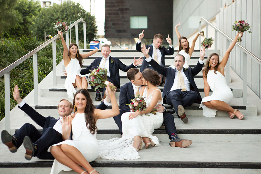 The excited bridal party