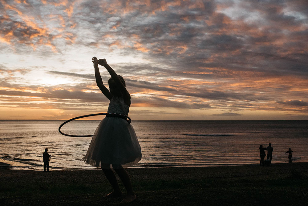 Hula hooping in the sunset