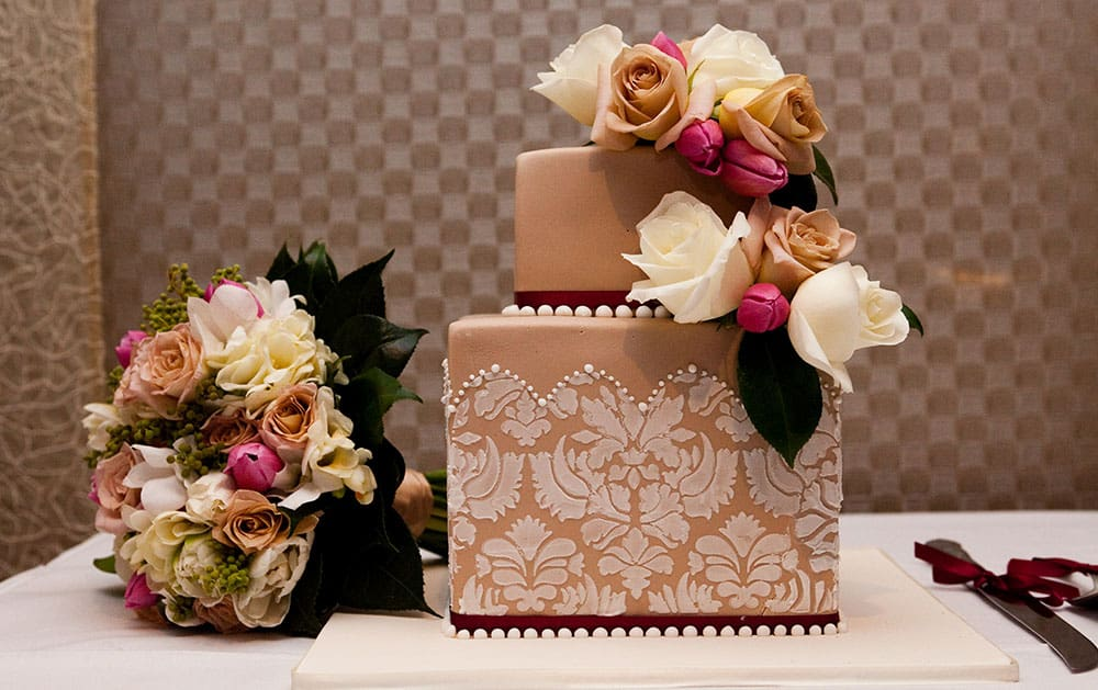 classic wedding cake lace detail