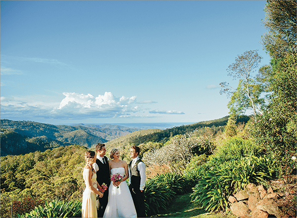 Hinterland Wedding: Bride, groom with best man and maid of honour at St Bernards Hotel.