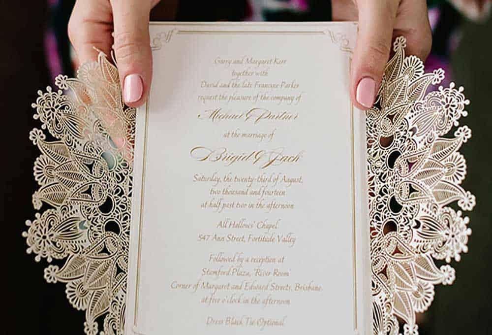 Gold wedding invites