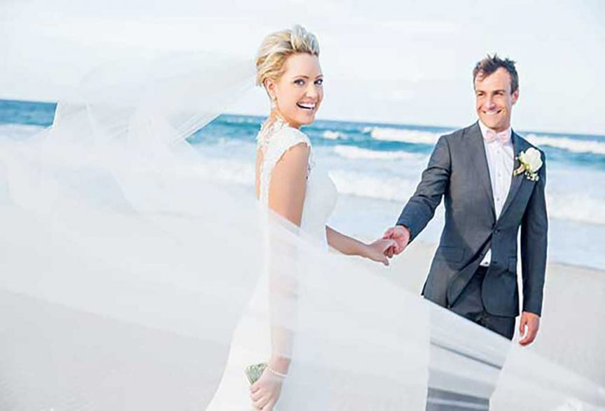Bride and groom on their beach for their gold coast wedding