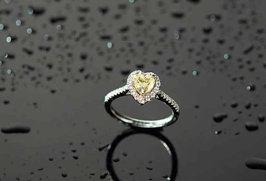 Yellow heart-shaped wedding ring from Gilletts Jewellers