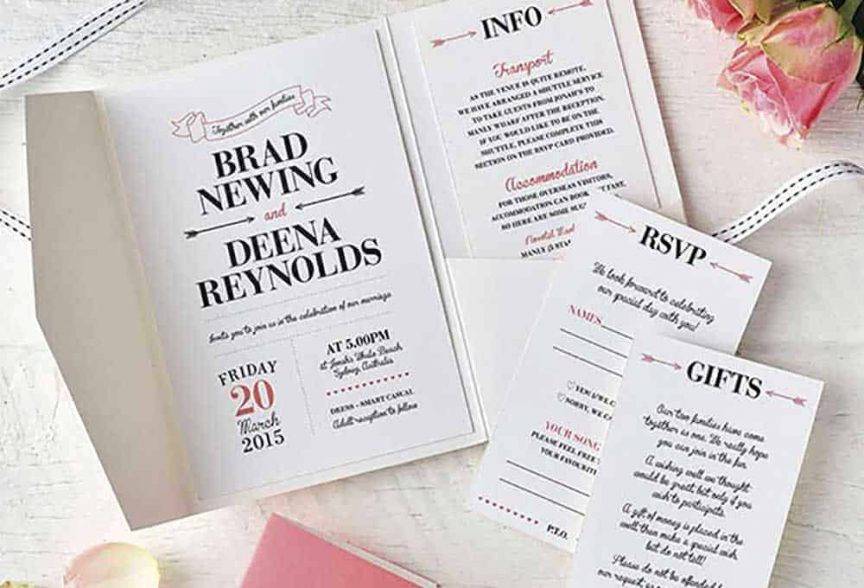Modern wedding stationery.