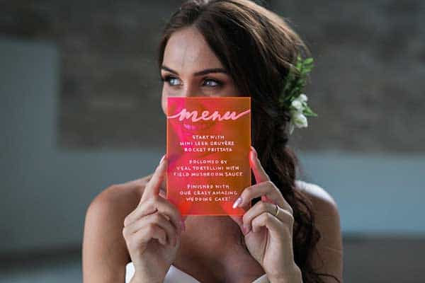 Bride with her menu card.