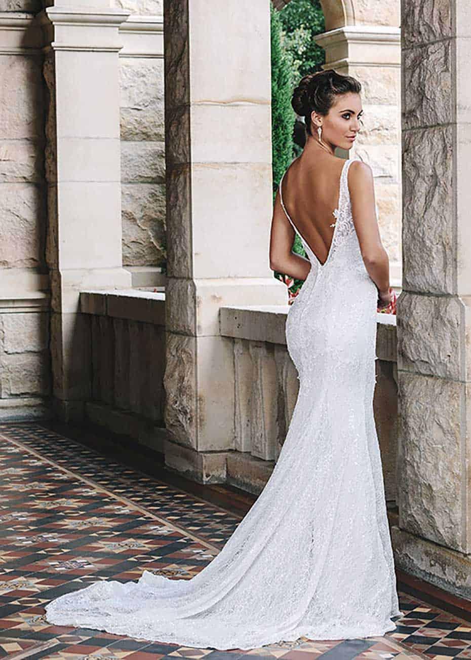 V Back lace wedding dress from Jack Sullivan Bridal.