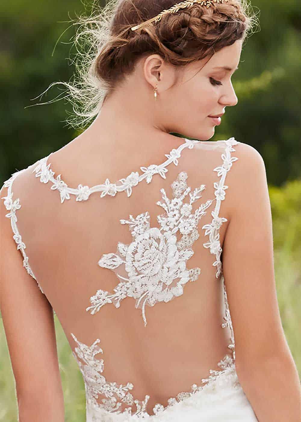 """Rosalie"" sheer back wedding dress from Wendy Makin Bridal Designs."