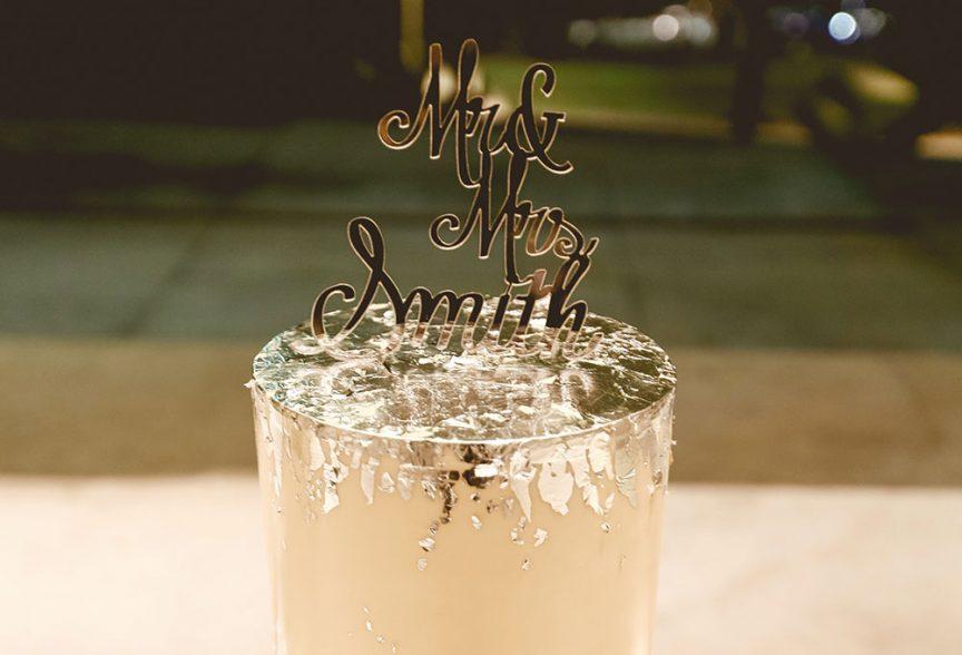 Wedding cake with golf-leaf detail.