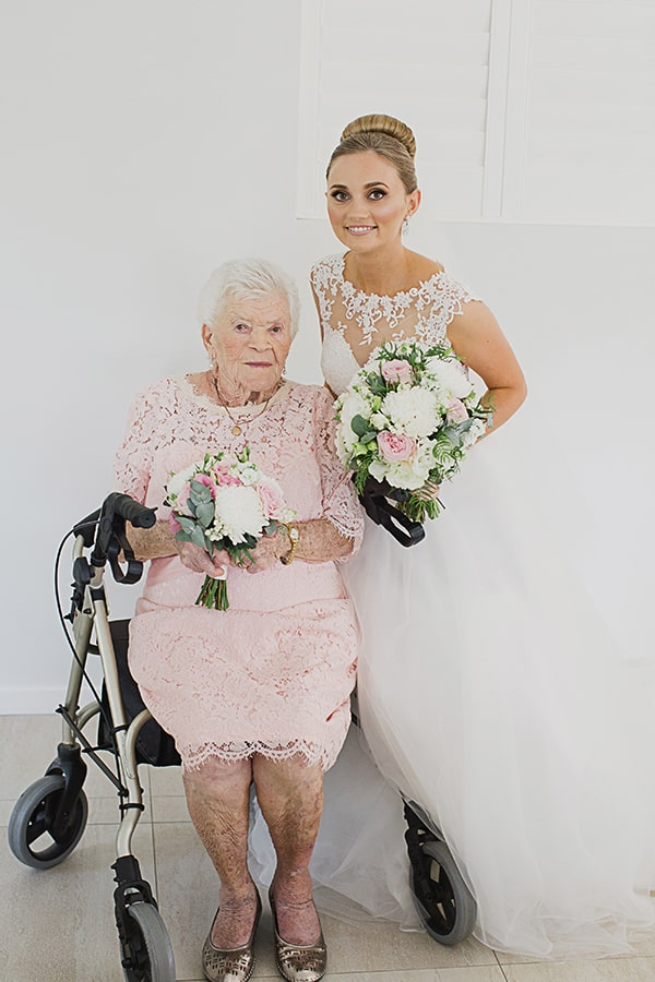 Bride with her 93 year old great grandmother who was a bridesmaid.