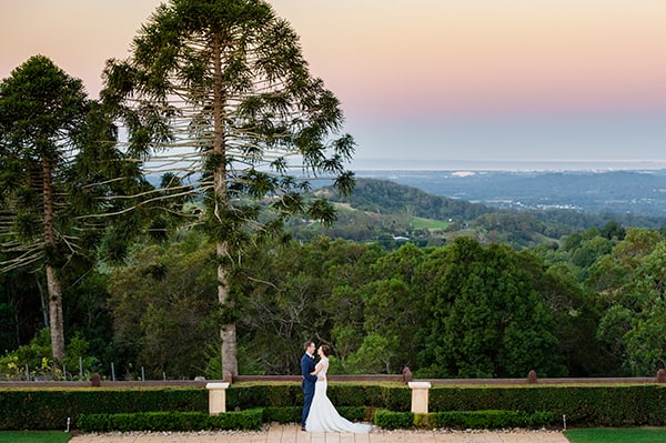 Bride and groom at Flaxton Gardens