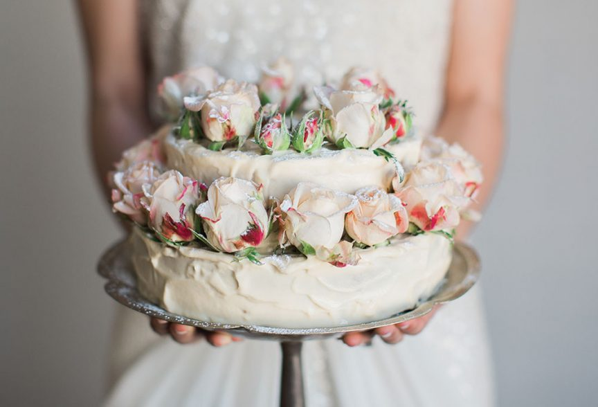buttermilk and rose wedding cake by Gillian Bell