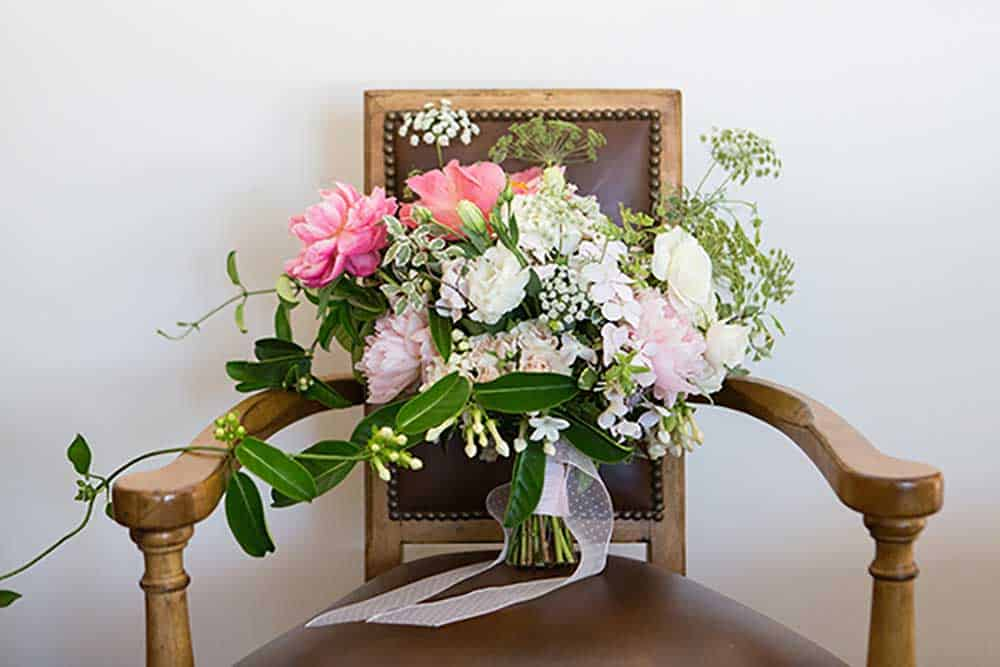 Pink, white & green floral bouquet.