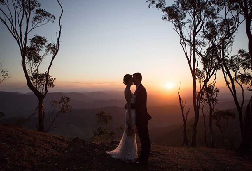 A Gold Coast Hinterland wedding at sunset.