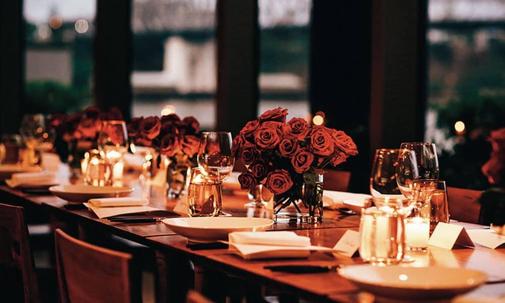 Wedding reception setting at Esq & Esquire along the Brisbane river.