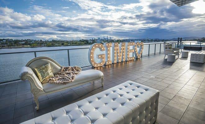 Brisbane riverside views at a wedding at Moda Events Portside.