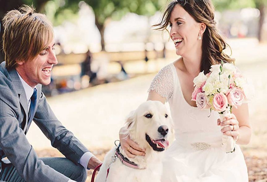 Wedding animals: Bride and groom with their pooch at the wedding.