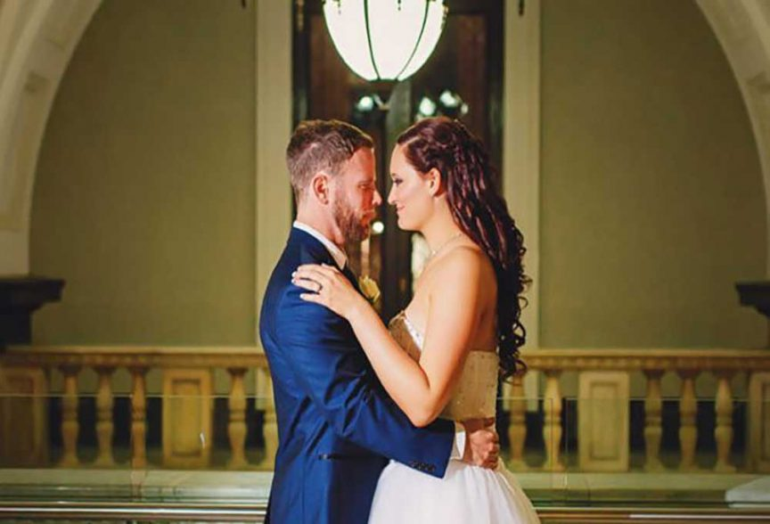Bride and groom at Epicure Brisbane City Hall