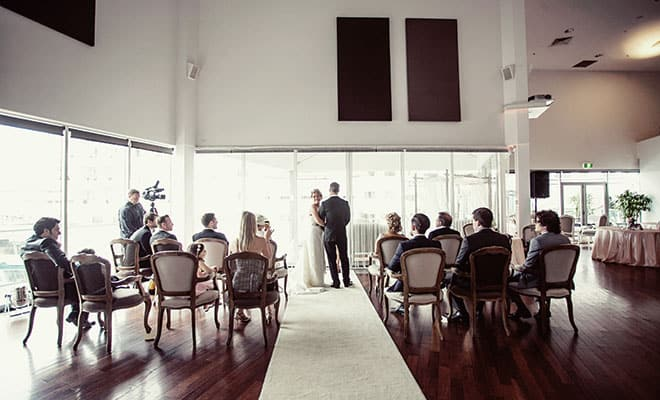 Indoor ceremony space.