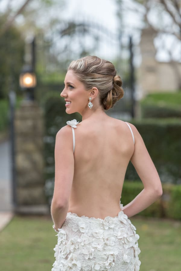 Backless spaghetti strap floral poppy gown from Helena Couture Designs.