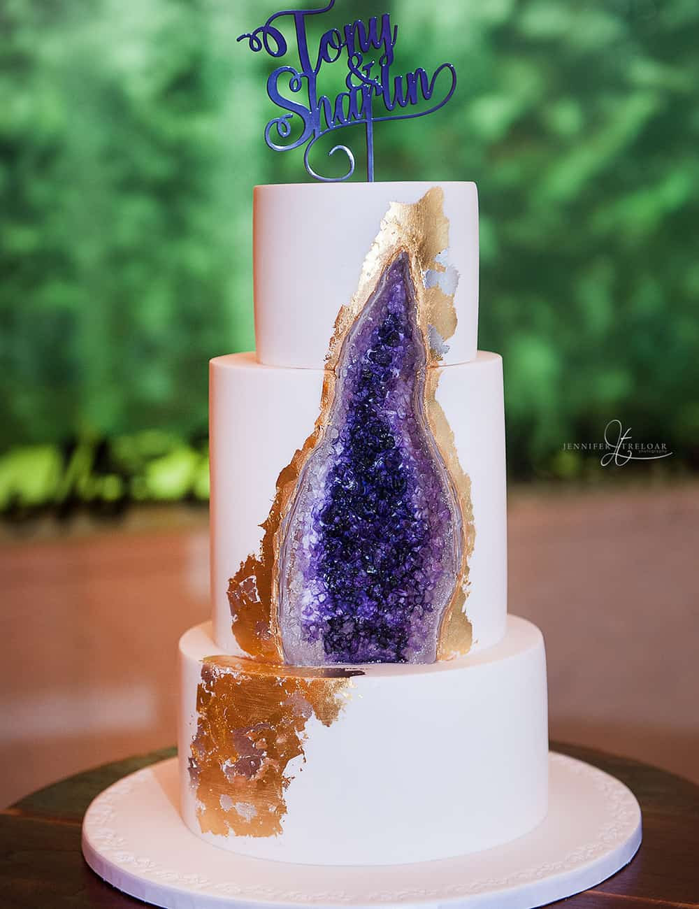 jewel-inspired geode wedding cake