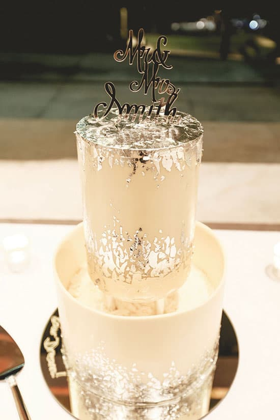 white and silver metallic wedding cake