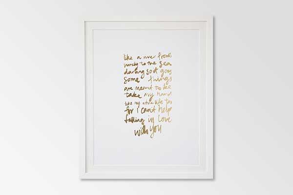Falling in love wedding print