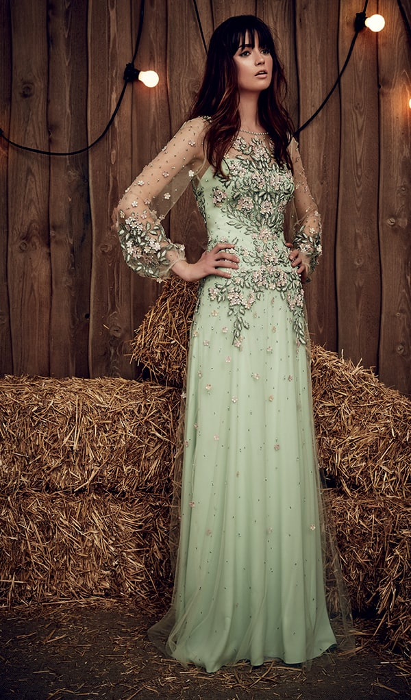 Pastel green embellished bodice wedding gown from Jenny Packham.